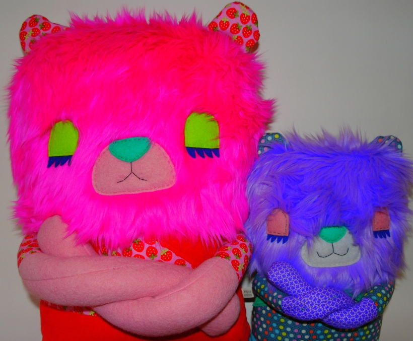 giant pink bear and purple bear cross