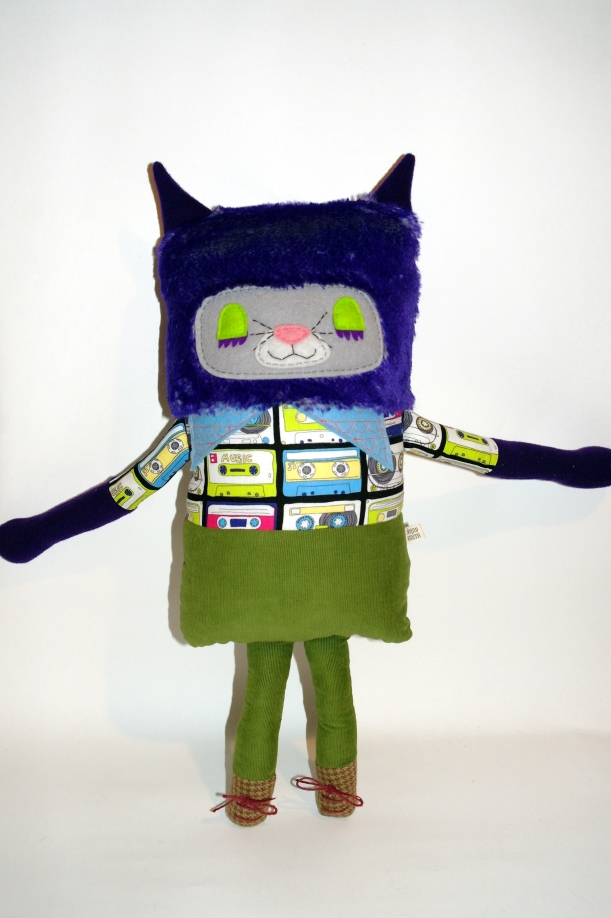purple cat standing