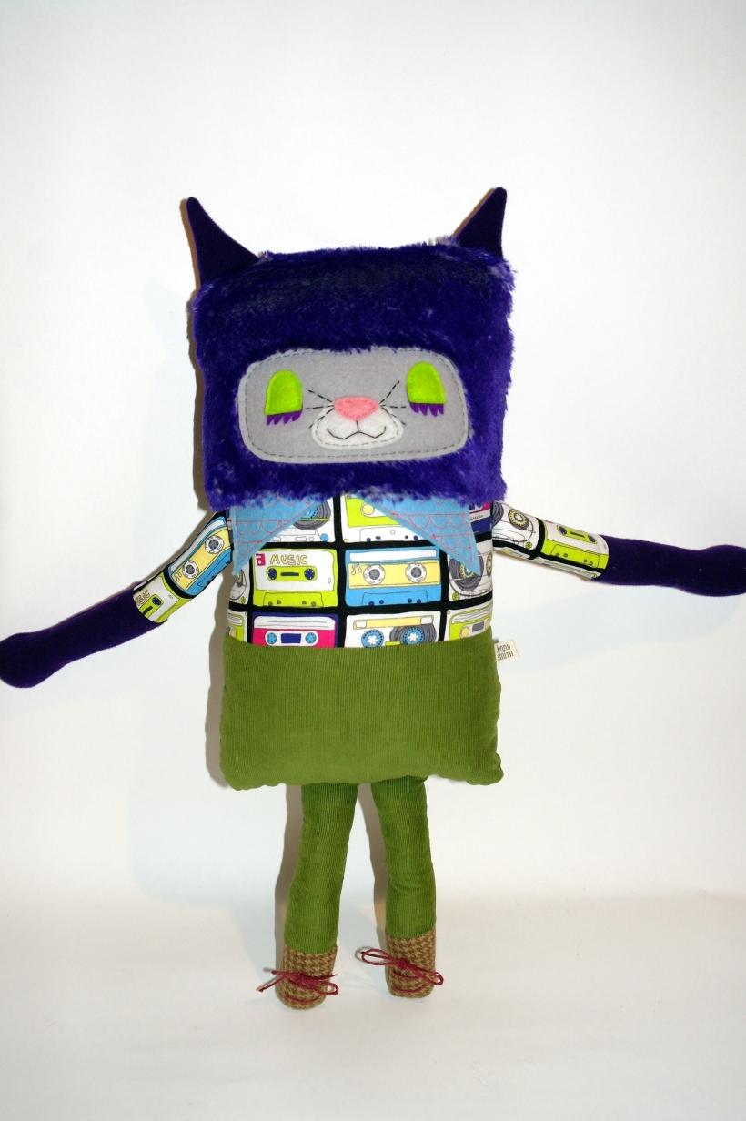purple cat standing